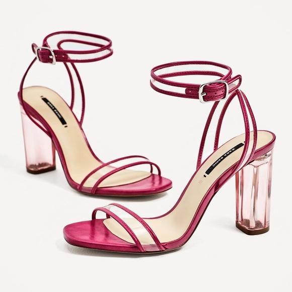 78b8d2bf3ee Fuchsia Clear Acrylic Heel Vinyl High Heel Sandal